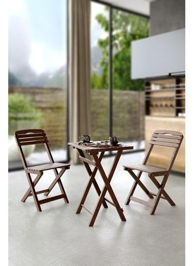 Meya Dekor Minderli 60x60 Cm Masalı Balkon Bahçe 3'lü Katlanabilir Bistro Set 2 Sandalye 1 Masa Renkli